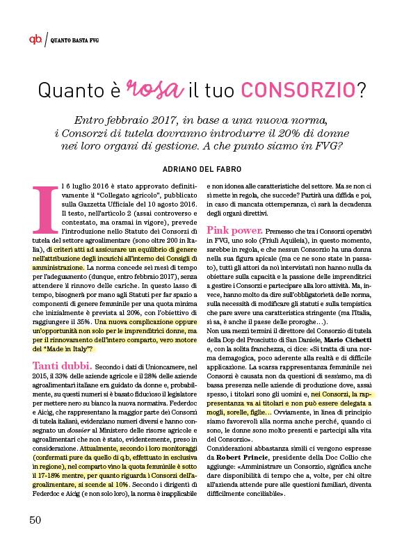 Articolo su Quanto Basta FVG sulle quote rosa nei consorzi