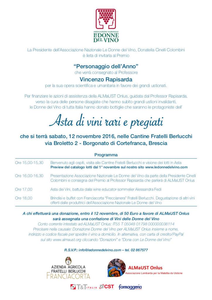 Invito e programma dell'Asta di vini a favore di ALMaUST
