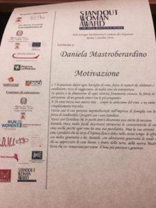 La motivazione del premio a Daniela Mastroberardino