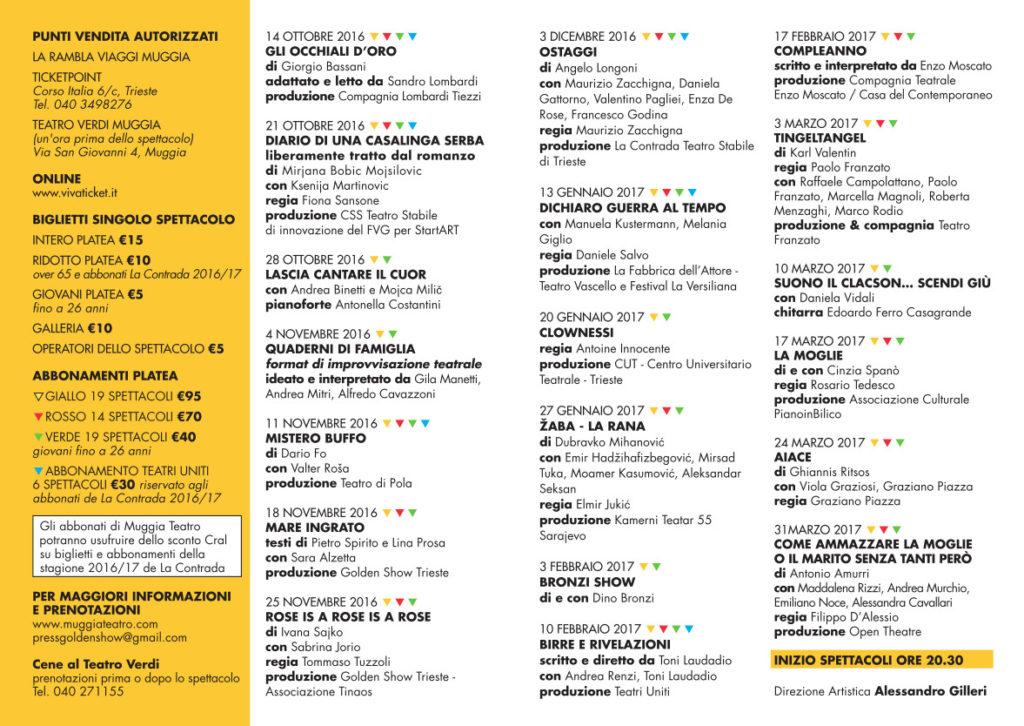 Il calendario degli spettacoli del Teatro Verdi di Muggia