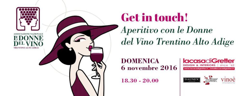 L'immagine di Get in touch, l'aperitivo delle Donne del vino del Trentino Alto Adige