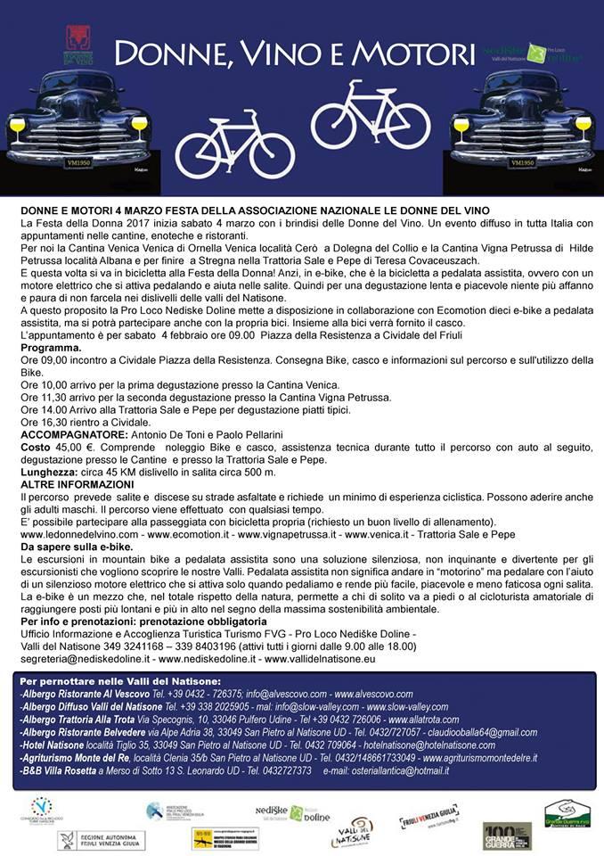 Locandina del tour delle bici elettriche con partenza da Cividale del Friuli