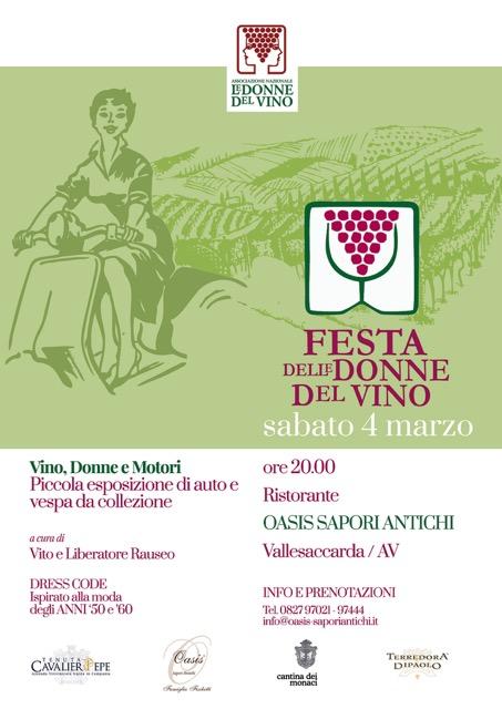 Locandina dell'evento Vino, donne e motori in Irpinia
