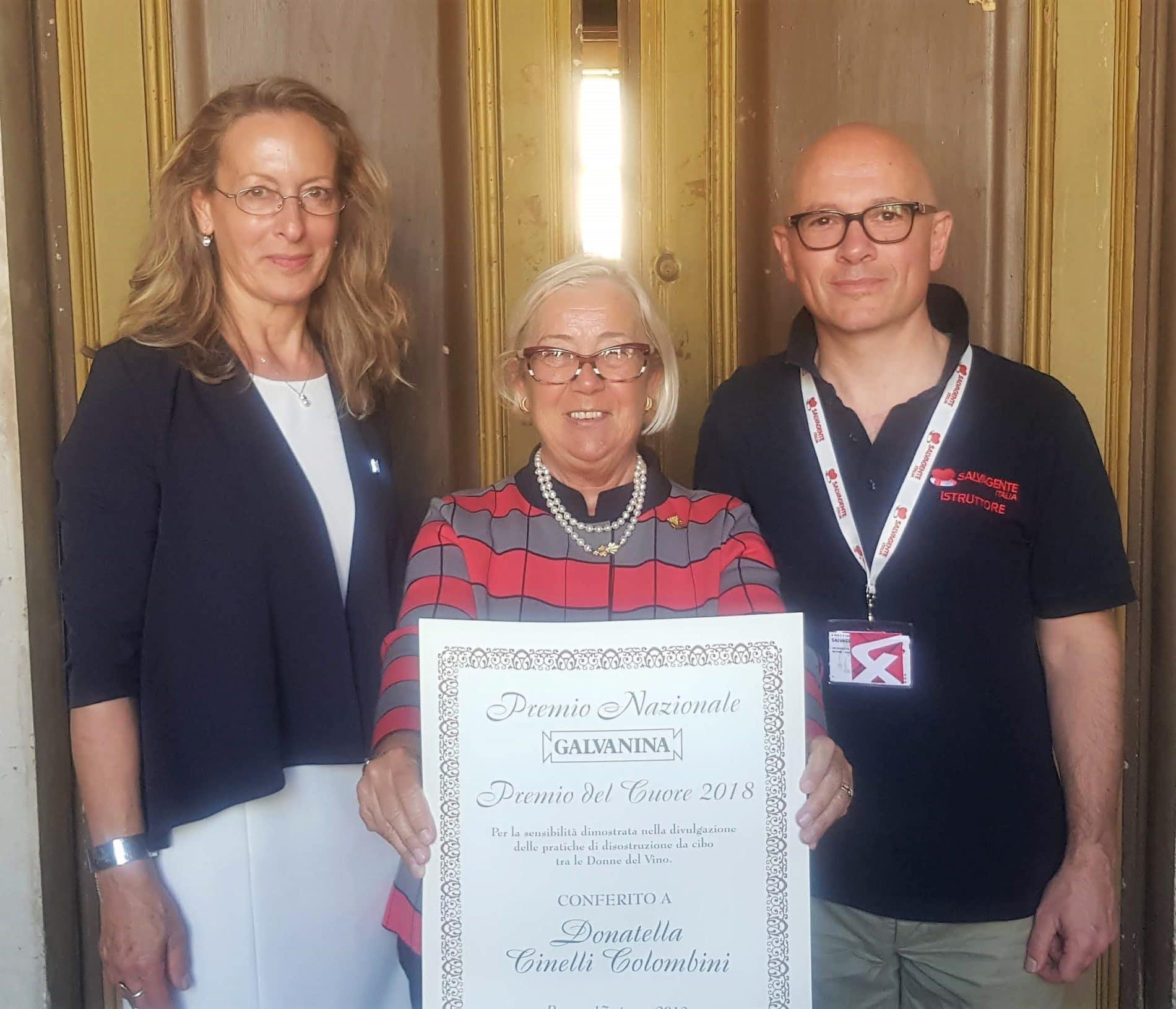 Galvanina, premio del Cuore a Donatella Cinelli Colombini e alla Donne del Vino. 24 giugno 2018