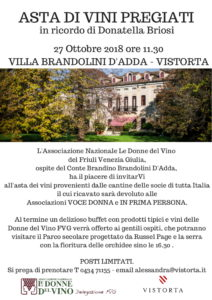 Vistorta (Friuli V.G.) Asta benefica di vini pregiati con i vini delle Donne del Vino @ Azienda Agricola Villa Brandolini D'Adda | Friuli-Venezia Giulia | Italia
